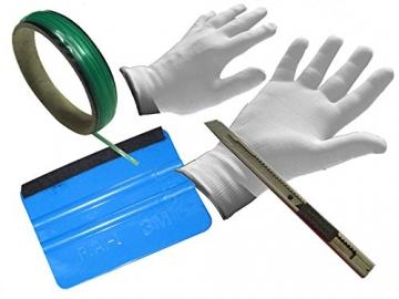Auto Folien Profi CarWrap Set 3M Rakel +Handschuhe +Metall Cutter +KnifelessTape - 1